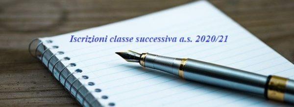 Iscrizioni alla classe successiva per l'a.s. 2020/2021